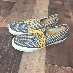 Sperry Top Sider Black checkered boat shoes